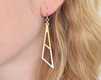 Triangle Earrings, Art Deco Style, White-Gold Earrings, Small Gift, Elegant Earrings, Minimalist Earrings, Geometric Jewelry, Gift for Women