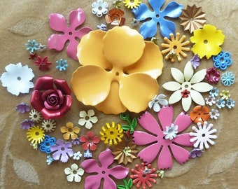 Vintage enamel flower beads,blue,green,pink,yellow, Lot of more than 70