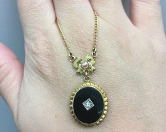 Antique 14k diamond black onyx lavalier necklace