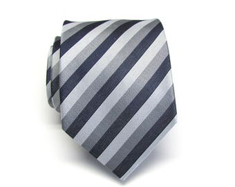 Mens Ties Navy Blue Silver Gray Striped Mens Neckties. Silk Tie with Matching Pocket Square Option
