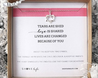 adoption necklace heart triangle love is shared lives are changed