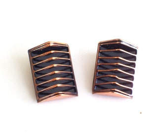 Renoir Earrings, Vintage RENOIR Copper SHADOWS Clip Earrings, Modernist Copper Earrings, Modernist Geometric Jewelry, Renoir Jewellery