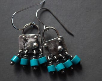 Artisan Made Turquoise Bead and Sterling Silver Dangle Earrings, Leaf Stamped Raw Organic Earthy Silver Swing Earrings