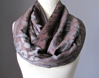 Brown Infinity Scarf, Circle Scarves, Dark Chocolate Scarf, Pashmina Animal Print Scarf, Fall Scarf, Mother Gift, Womens Scarf, Gift for Her