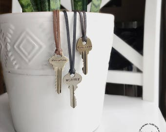 Key Necklace, Leather Personalized Hand Stamped Pendant Keys, Vintage Giving Style, Custom Name, Initials, Dates, Keepsake Jewelry