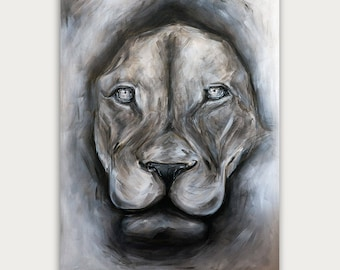 Original Lion Acrylic Painting,  Modern Animal  Art, Figurative Art On Canvas, Fine Animal Art, Home Decor