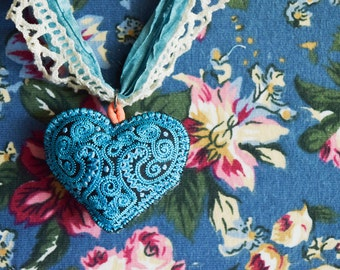 Blue Sari Silk Necklace with Embroidered Heart and Vintage Lace