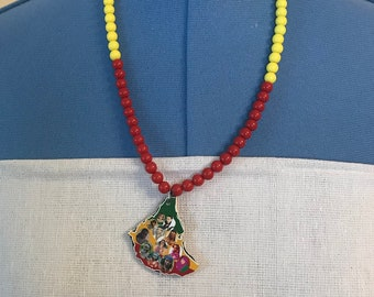 Ethiopian Beaded Necklace-Red, Yellow, Green