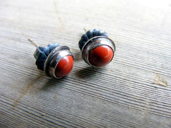 Red Studs, Red Jasper Stud Earrings Sterling Silver Oxidized Rustic