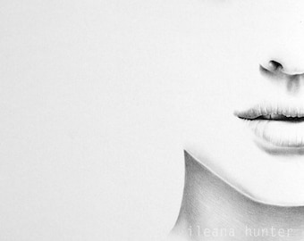 Natalie Portman Minimalism Pencil Drawing Fine Art Portrait Signed Print