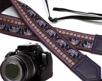 Dark purple camera strap with lucky elephant design .  Ethnic camera strap. DSLR / SLR Camera Strap. Camera accessories by InTePro.