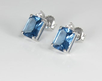 Sterling Silver London Blue Topaz Earrings