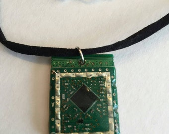 Choker necklace with recycled circuit board charm