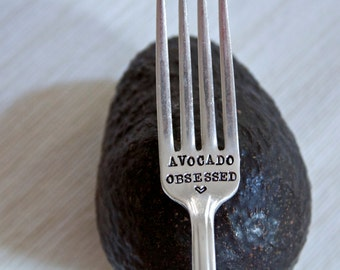 Avocado Obsessed - Hand Stamped Fork - Vintage Gift -  Every Day Vintage - Healthy Living