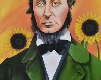 Thoreau Portrait Orange Fine Art Painting Sunflowers Acrylic