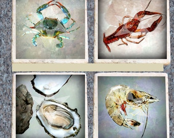 Crab, Crawfish, Oyster, Shrimp Coasters Heat Set, Set of 4 Tumbled Marble