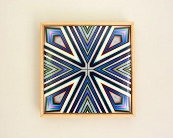 Ceramic Tile, Abstract Wall Art, Geometric tile, Art Deco style Pattern tile, Framed tile, Modern wall decor, Ceramic art tile, blue white