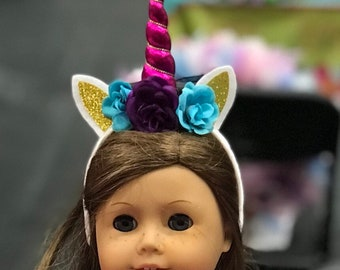 "18"" Doll Unicorn Headbands - Choose your horn and flower color"