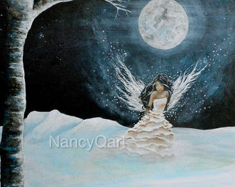 Original full moon fairy art painting, snow fairy princess on canvas wall art, original painting sale 35% off, painting by Nancy Quiaoit