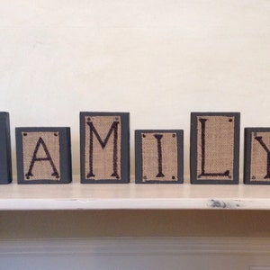Family Wood Blocks Burlap Blocks Rustic Home Decor Housewarming Gift Family  Sign