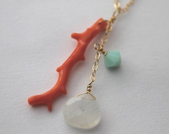 Natural Dark Pink Italian Branch Coral, Rainbow Moonstone Adorned on 14kt Gold Filled Chain