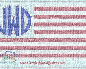 American Flag Monogram, Star and Stripes SVG -  Cut File
