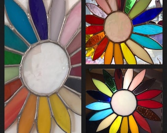 Stained glass rainbow daisy suncatcher for home and garden