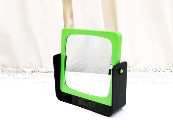 Vintage 1980s Swivel Make Up Vanity Mirror Double Sided with Green and Black Frame Free Standing or Wall Mounted, Retro Bathroom Accessory