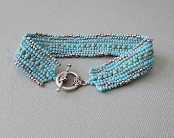 blue bracelet seed bead bracelet multi color boho bracelet handmade bracelet bead bangle beadwork bracelet festival bracelet