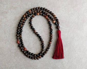 108 Mala Bead - Tiger Ebony Wood with Jasper - Tassel Necklace - Zen - Wood Prayer Beads - Item # 942