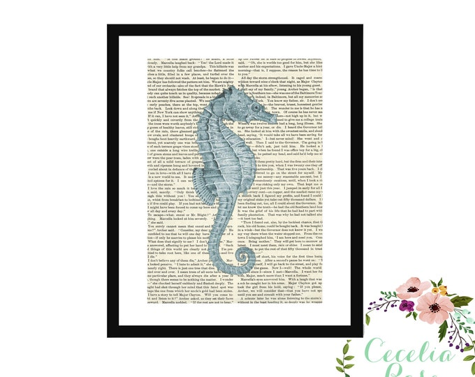 Seahorse Vintage Book Page Art Box Frame or Print Upcycled Nautical Nursery Farmhouse Style