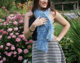 Fluffy and Fuzzy  scarf shades of Blues and Light Green super soft, Blue Fashion Scarf
