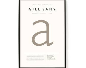 """Gill Sans Poster, Screen Printed, Archival Quality, Wall Art, Poster, Designer Gift, Typography Print, 24"""" x 36"""""""