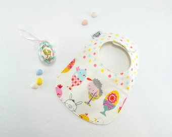 SALE 50% off Easter Bibs, Baby Bibs, chicks, bunnies, lambs, eggs, easter egg, easter gift, feeding bib, Triple layered fits 3 mths to 2 yrs