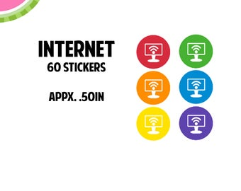 Internet Utility Icon Stickers | 60 Kiss Cut Stickers | IC046