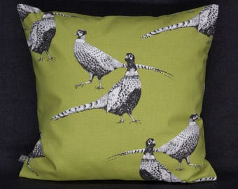 Pillow Case/upholstery with pheasants, fern-Green, 40 x 40 cm