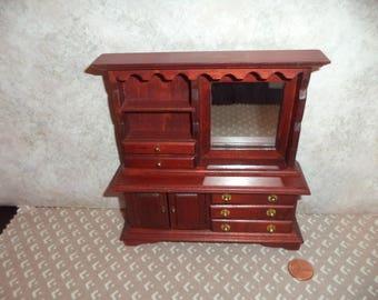 1:12 scale Vintage Dollhouse Miniature Mahogany Wood Dresser W/ Mirror