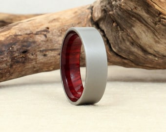 Wooden Ring Bloodwood and Sandblasted Cobalt