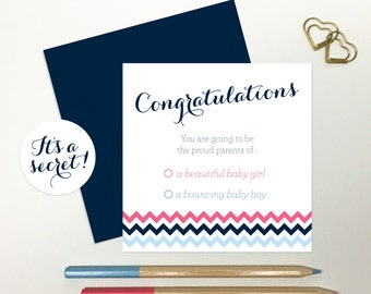 Gender Reveal Card - Baby Keepsake Card - Perfect Gift for Expecting Parents