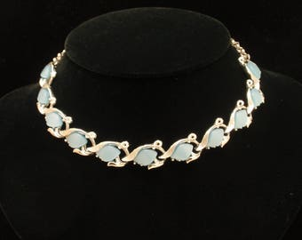 Steely Blue Thermoset Necklace Vintage Choker