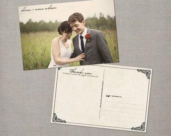 "Custom wedding thank you cards - 4x6 - wedding thank you - the ""Nina"""