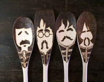 Sgt. Pepper Wooden Spoons, Beatles Gifts, Woodburned Home Decor, Fab Four Christmas Art, Food Lovers, Food Gifts Under 30, Mustache