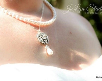 bridal necklace, pearl rhinestone necklace, Wedding Rhinestone necklace, bridal pearl necklace, bridal jewelry, Statement necklace, SUSAN