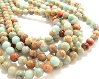 Impression Stone, 8mm, Round, Smooth, Aqua Terra Jasper, Blue-Green, Gemstone Beads, Small, 16 Inch Strand - ID 386
