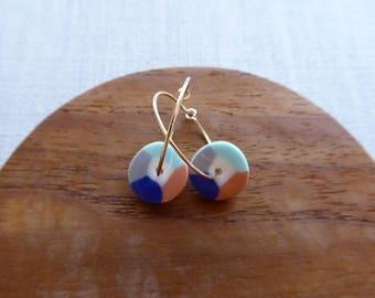Colour Wheel Hoop Earrings in Indigo and Persimmon