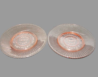 2 Pink Glass Swirl Plates, Pair Advertising Plates, Pink Twisted Optic Plate, George Urban Liberty Flour Buffalo, NY