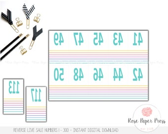 Live Sale Numbers, Stripes | Printable Digital Download | Reverse Numbers, Mirrored Numbers, Live Sale Number Tags, Coat Check Tags