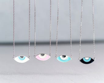 Evil Eye Necklace Sterling Silver Gift teen pink Oval enamel pendant for Her Anniversary gift Bridal Christmas Black Friday dainty mom
