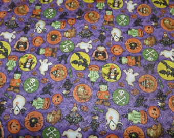 Debbie Mumm Halloween fabric with ghosts,dracula,bats,frankenstein and more by half yd