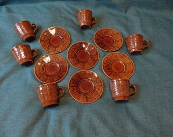 Vintage John Tams Ltd tableware manufacturers 12 piece coffee set Harvest
